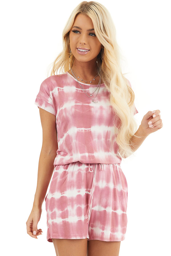 Dusty Pink Tie Dye Knit Romper with Back Keyhole Detail front close up
