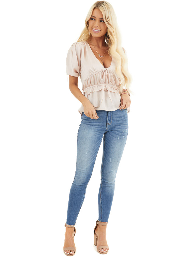 Pale Pink Silky V Neck Peplum Blouse with Bow Detail front full body