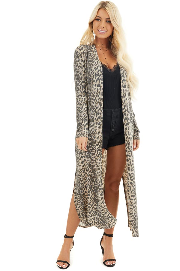 Latte Leopard Print Open Front Cardigan with Long Sleeves front full body