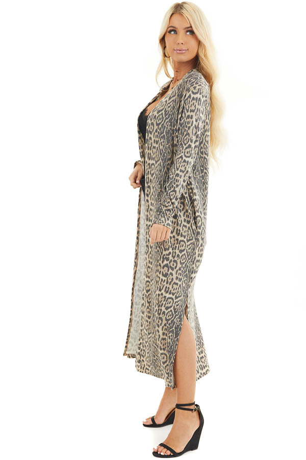 Latte Leopard Print Open Front Cardigan with Long Sleeves side full body