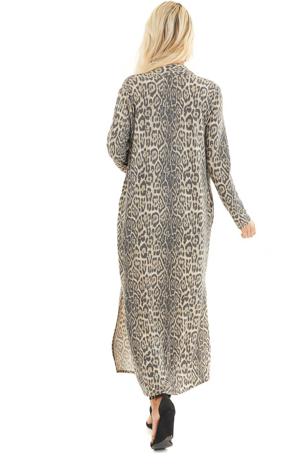 Latte Leopard Print Open Front Cardigan with Long Sleeves back full body