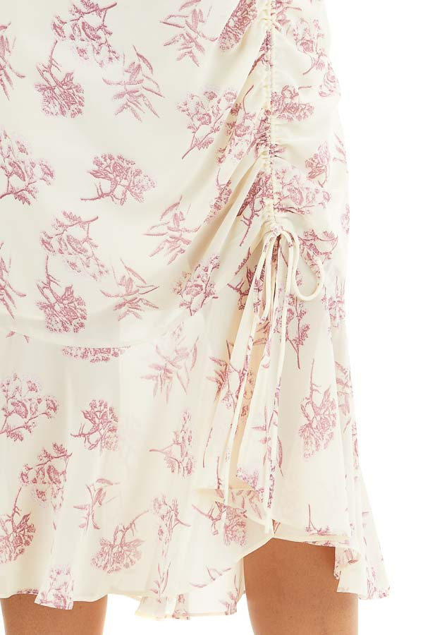 Cream and Light Plum Floral Print Midi Dress with Ruffles detail