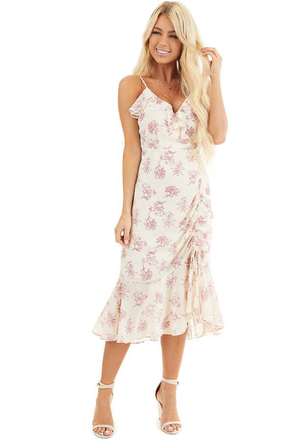 Cream and Light Plum Floral Print Midi Dress with Ruffles front full body