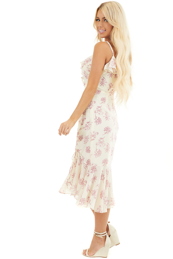 Cream and Light Plum Floral Print Midi Dress with Ruffles side full body
