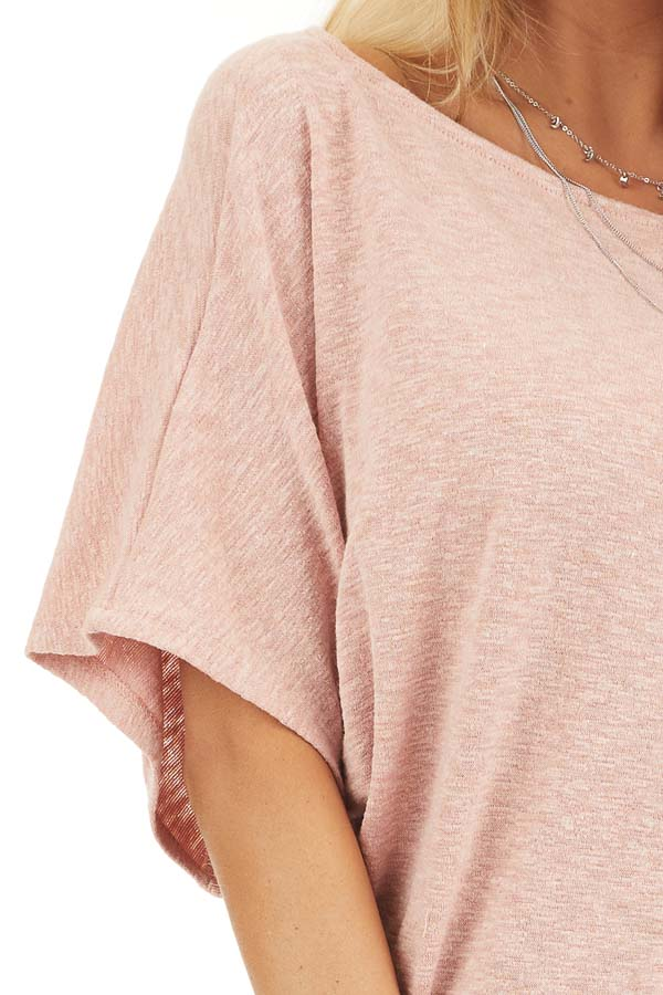 Peach Short Dolman Sleeve Knit Top with Exposed Stitching detail