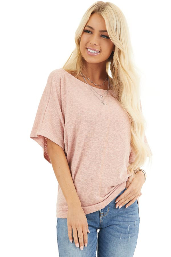 Peach Short Dolman Sleeve Knit Top with Exposed Stitching front close up