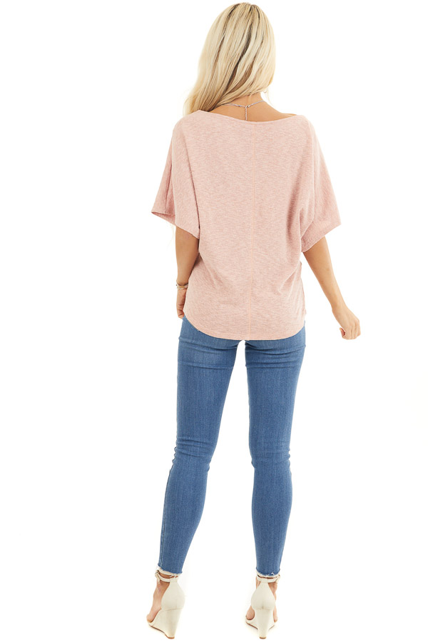 Peach Short Dolman Sleeve Knit Top with Exposed Stitching back full body