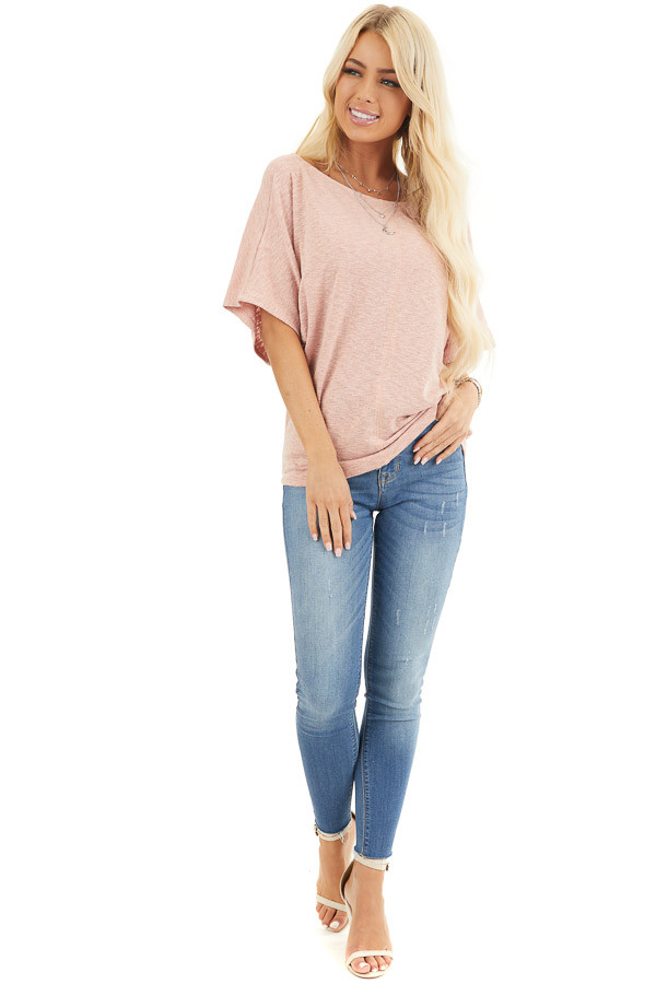Peach Short Dolman Sleeve Knit Top with Exposed Stitching front full body