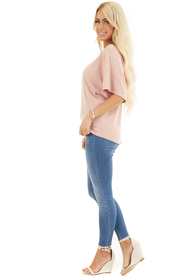 Peach Short Dolman Sleeve Knit Top with Exposed Stitching side full body