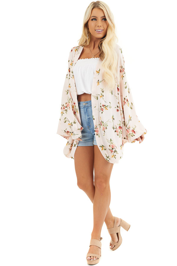 Baby Pink Floral Print Open Front Kimono with Dolman Sleeves front full body