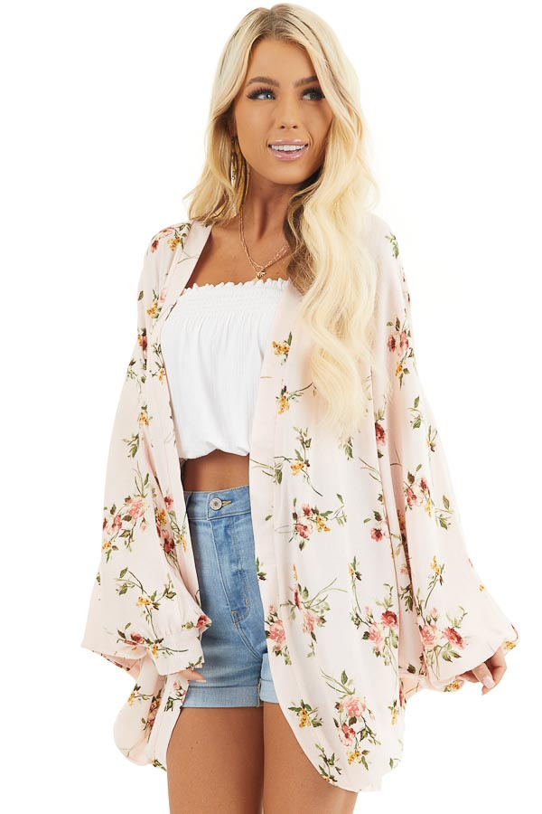 Baby Pink Floral Print Open Front Kimono with Dolman Sleeves front close up