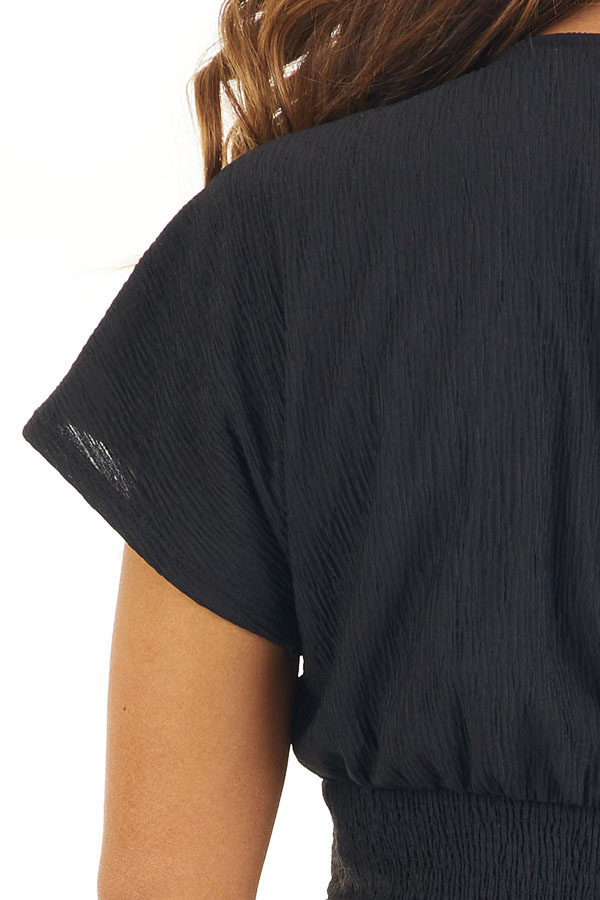 Black V Neck Textured Crop Top with Short Sleeves detail