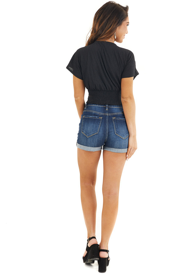 Black V Neck Textured Crop Top with Short Sleeves back full body