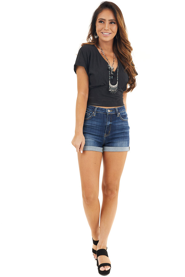 Black V Neck Textured Crop Top with Short Sleeves front full body