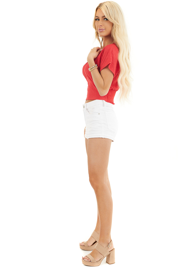 Lipstick Red V Neck Textured Crop Top with Short Sleeves side full body