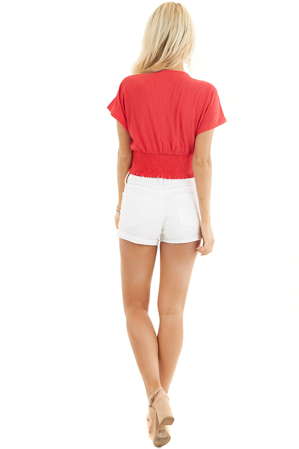 Lipstick Red V Neck Textured Crop Top with Short Sleeves back full body