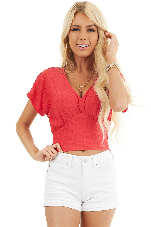 Lipstick Red V Neck Textured Crop Top with Short Sleeves front close up