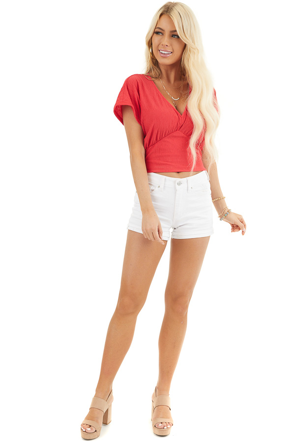 Lipstick Red V Neck Textured Crop Top with Short Sleeves front full body