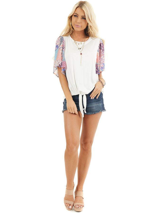 White Short Sleeve Knit Top with Floral Print Details front full body