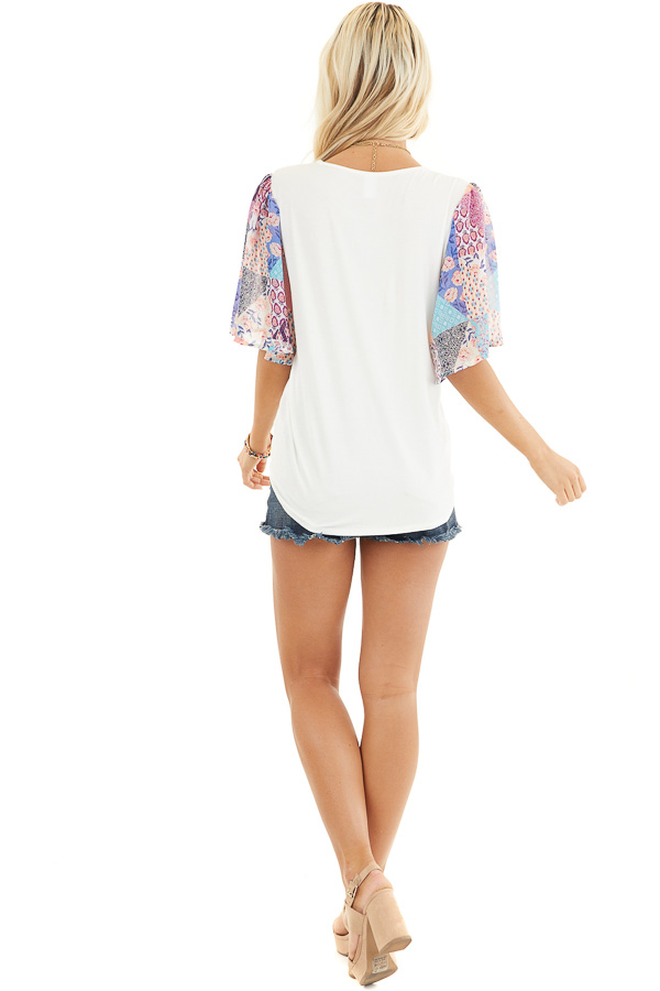 White Short Sleeve Knit Top with Floral Print Details back full body