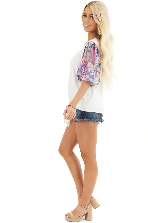 White Short Sleeve Knit Top with Floral Print Details side full body