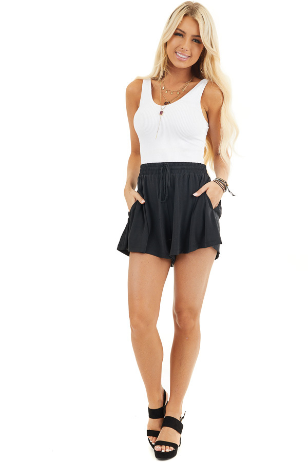 Black Knit Shorts with Elastic Waistband and Tie front full body