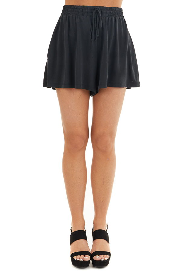 Black Knit Shorts with Elastic Waistband and Tie front view