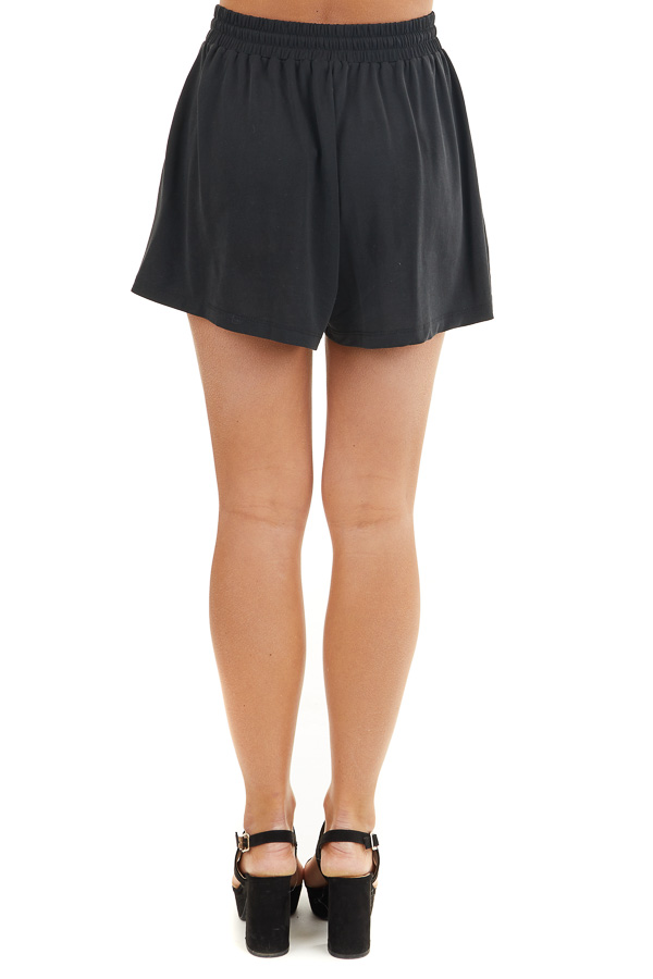 Black Knit Shorts with Elastic Waistband and Tie back view
