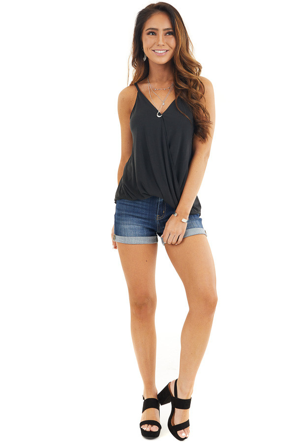 Black Surplice Style Knit Tank Top with V Neckline front full body