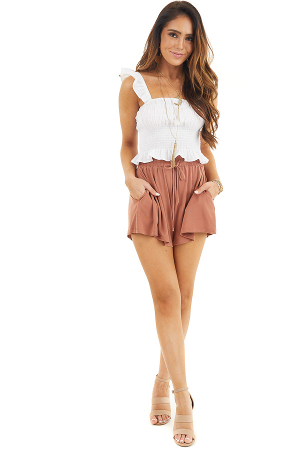 White Smocked Off the Shoulder Crop Top with Ruffle Details front full body