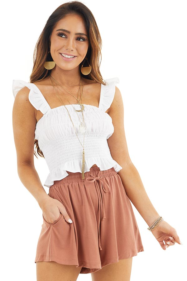 White Smocked Off the Shoulder Crop Top with Ruffle Details front close up