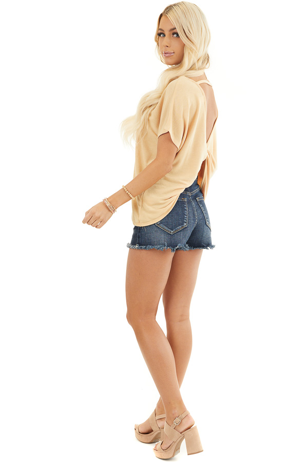 Mustard Short Sleeve Top with Open Twisted Back Detail side full body