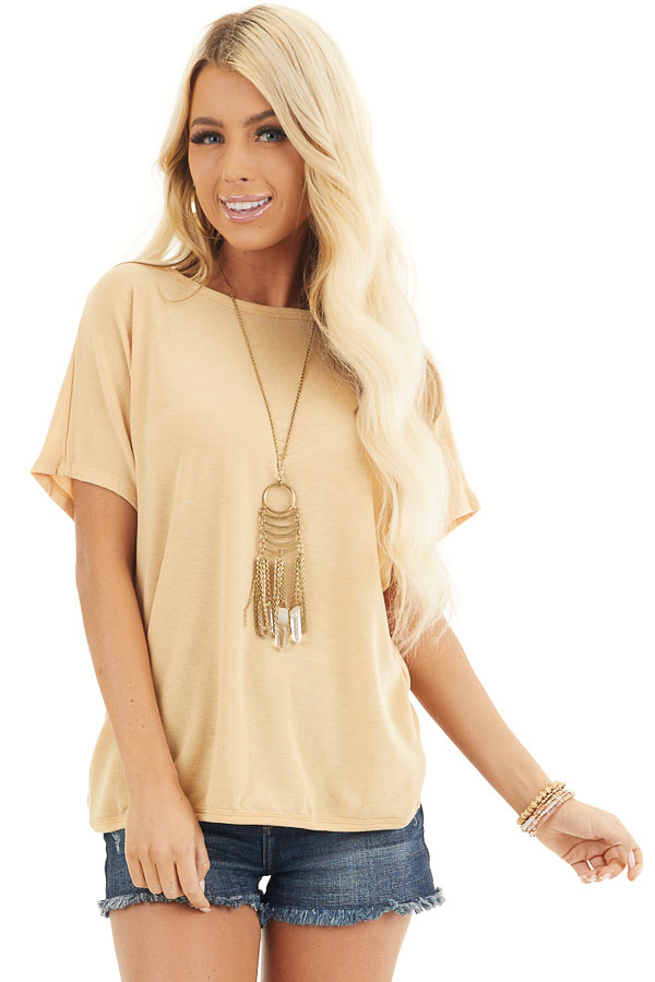 Mustard Short Sleeve Top with Open Twisted Back Detail front close up