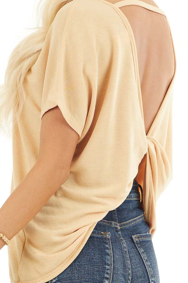 Mustard Short Sleeve Top with Open Twisted Back Detail detail