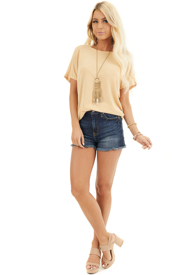 Mustard Short Sleeve Top with Open Twisted Back Detail front full body