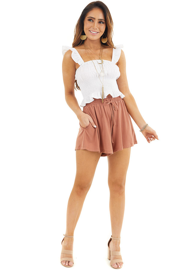 Terracotta Knit Shorts with Elastic Waistband and Tie front full body