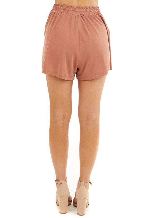 Terracotta Knit Shorts with Elastic Waistband and Tie back view