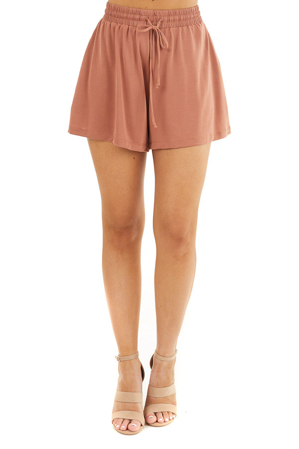Terracotta Knit Shorts with Elastic Waistband and Tie front view