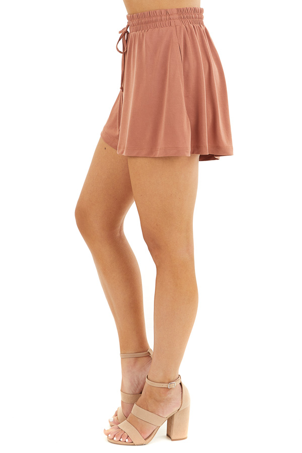 Terracotta Knit Shorts with Elastic Waistband and Tie side view