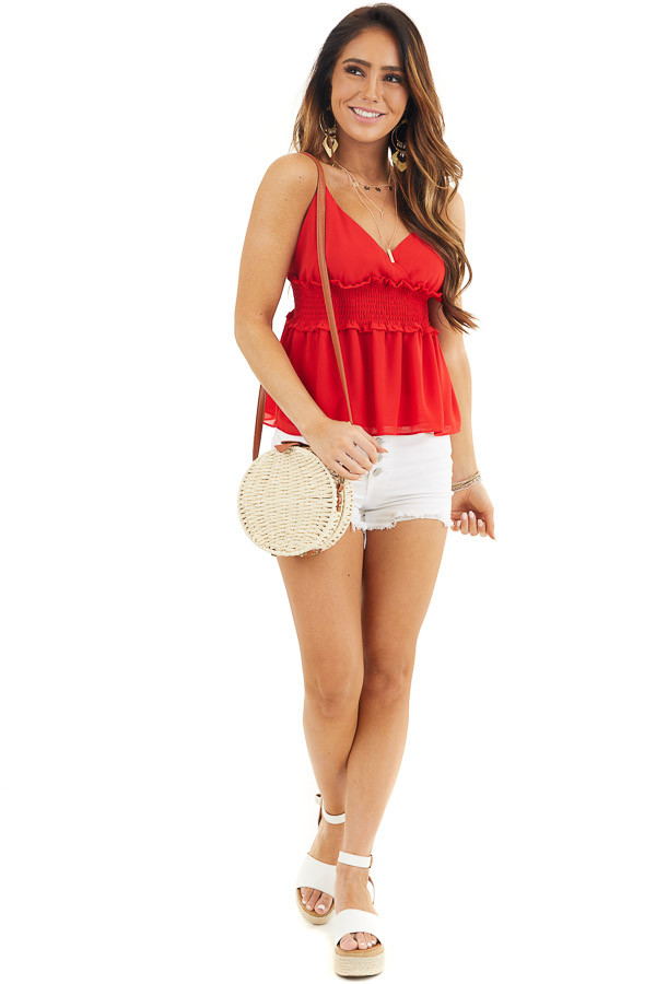 Lipstick Red Spaghetti Strap Smocked Babydoll Top front full body
