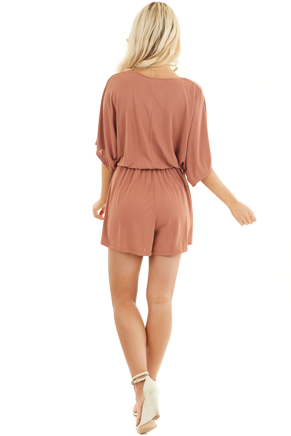 Terracotta Surplice Romper with Short Sleeves and Waist Tie back full body