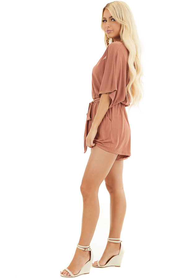 Terracotta Surplice Romper with Short Sleeves and Waist Tie side full body