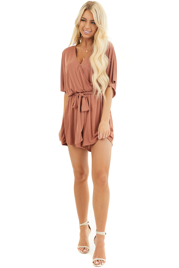 Terracotta Surplice Romper with Short Sleeves and Waist Tie front full body
