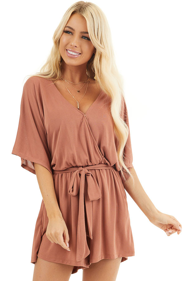 Terracotta Surplice Romper with Short Sleeves and Waist Tie front close up