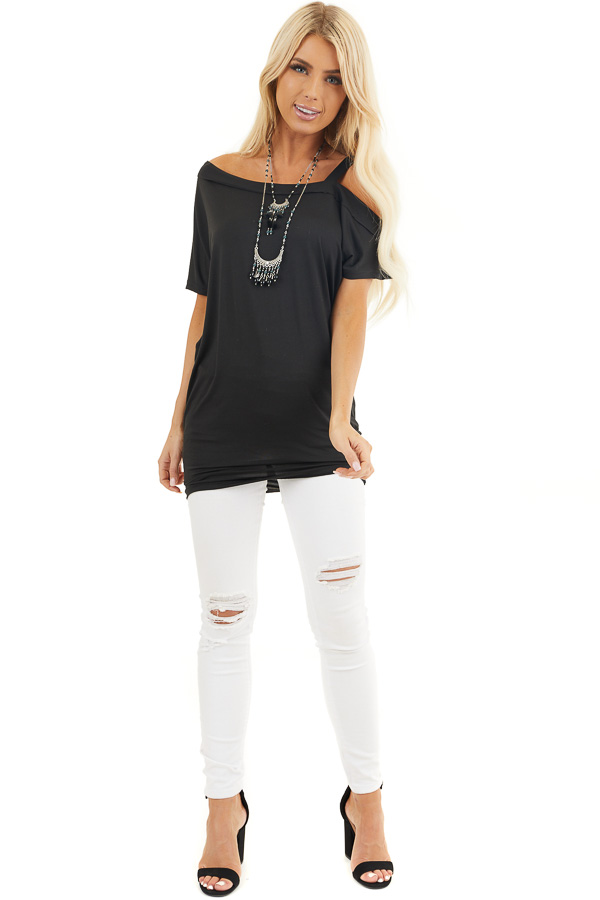 Black Super Soft Knit Tunic Top with Single Cold Shoulder front full body