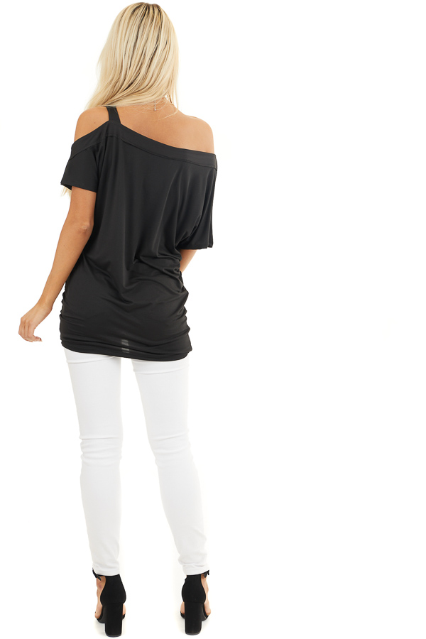 Black Super Soft Knit Tunic Top with Single Cold Shoulder back full body