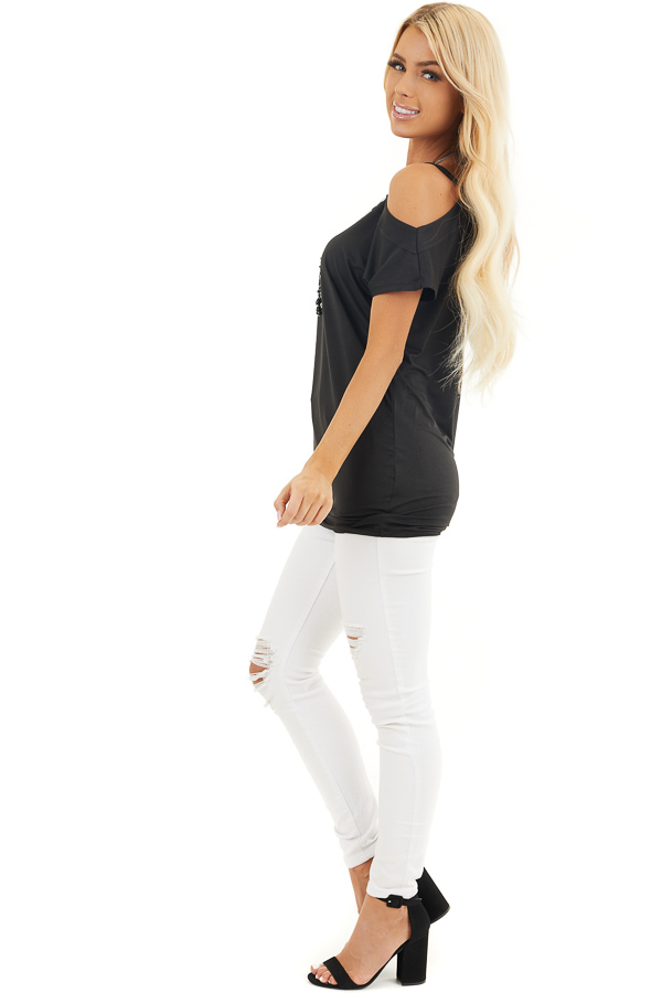 Black Super Soft Knit Tunic Top with Single Cold Shoulder side full body