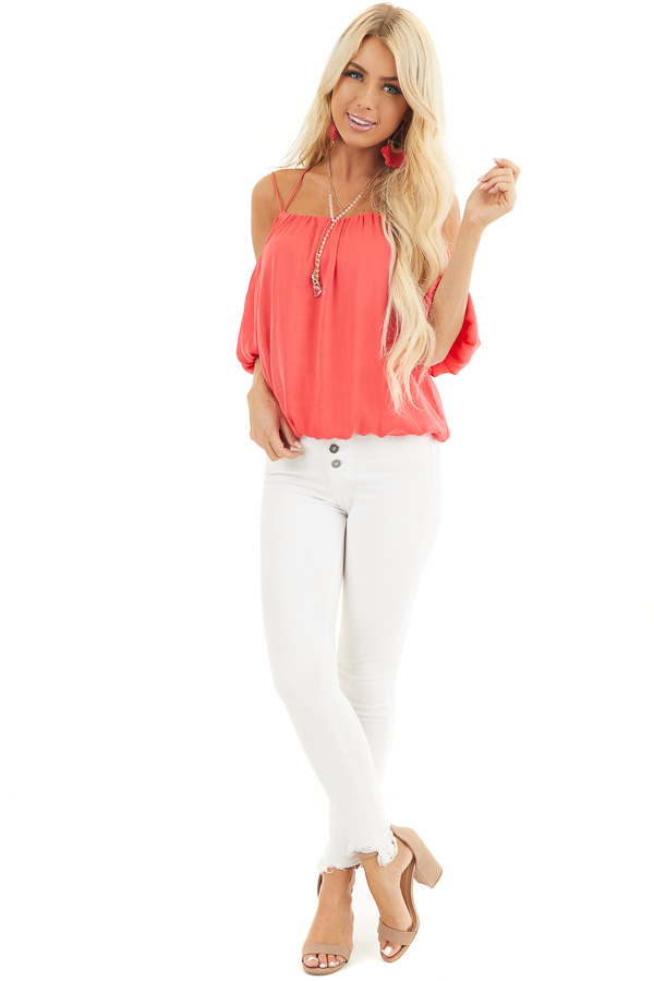 Bright Pink Cold Shoulder Blouse with Bubble Hemline front full body