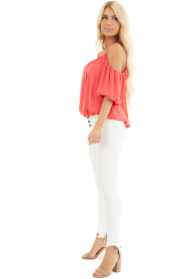 Bright Pink Cold Shoulder Blouse with Bubble Hemline side full body