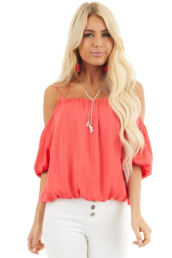Bright Pink Cold Shoulder Blouse with Bubble Hemline front close up